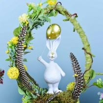 Easter bunny with balloon standing white gold H18cm 2pcs