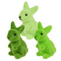 Easter bunny flocked 9.5cm green mix 9pcs