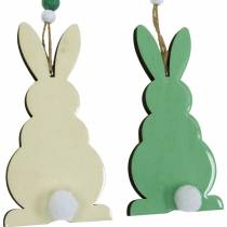 Easter bunnies to hang, spring decorations, pendants, decorative bunnies green, white 3pcs