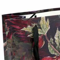 Gift bag flowers gold 18cm x 8cm H24cm