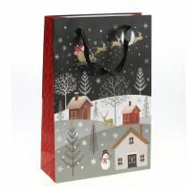 Gift bag Paper bag Christmas village H30cm 2pcs
