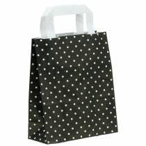 Paper bag black with dots 18cm x 8cm x 22cm 25pcs