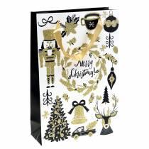 "Gift Bag Paper Bag ""Merry Christmas"" Gold Glitter H30cm 2pcs"