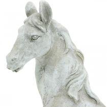 Horse head bust deco figure horse ceramic white, gray H31cm