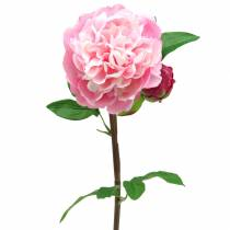 Peony Artificial flower with blossom and bud Pink 68cm