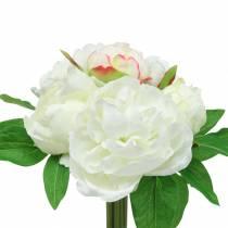 Peony Bunch White / Pink 27cm 6pcs
