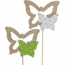 Plant plug butterfly on stick wood spring decoration 16pcs