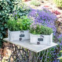 Planter wooden box Garden White 32/27 / 22cm 3 pc