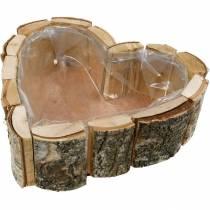 Planter, heart-shaped wooden bowl, birch wood planter, heart bowl 27 × 28cm