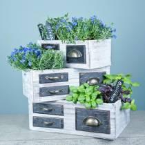 Planter drawer wood metal white 40/36 / 32cm 3 pc