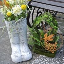 Planter boots bee metal white vintage garden decoration H31cm