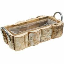 Plant box, birch planter, wood decoration, flower box with handles 32cm