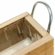 Wooden plant box with handles 23.5 × 12cm natural wooden box