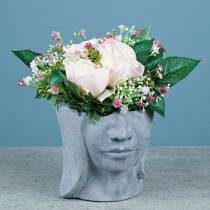 Planting head bust made of concrete for planting gray H14,5cm 2pcs