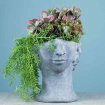 Planting head bust made of concrete for planting gray H23,5cm