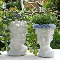 Plant head bust woman white ceramic vase flower pot H22.5cm
