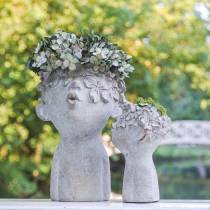 Plant head bust stone cast Ø11.5cm H18cm