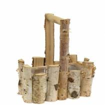 Planting basket birch branches with handle 24x14.5cm H25.5cm