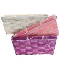 Chip basket square purple / white / pink 8pcs