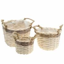 Planter basket with jute handles Ø24/20/14.5cm Set of 3