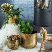 Antique look planter flower pot with metal handles H17 / 19.5 / 26cm, set of 3