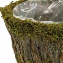 Planter Moss/bark Round Ø15/20cm Set of 2