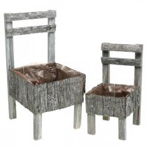 Chairs for planting, planter, garden decoration Shabby Chic, white washed set of 2