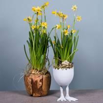 Flower Pot Eggshell on Legs White Ø13cm H21cm