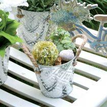 Plant pot with handles, decorative bowl with flower pattern, metal vessel Ø14.5cm