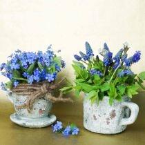 Plant pot planter cup and saucer vintage gray, natural clay Ø8cm H6.5cm 4pcs