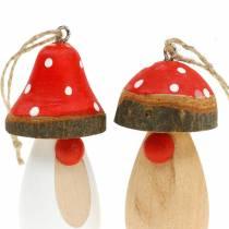 Mushroom to hang wood white, brown assorted 6.5 / 8cm 8pcs