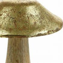 Mushroom mango wood gold, natural decorative mushrooms large Ø12cm H15cm 2pcs