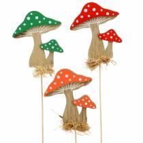 Flower pick Autumn décor Mushroom Assorted H28cm 12pcs