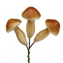 Mushrooms on wire brown 7cm 18pcs