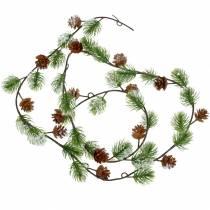 Pine garland with cones snowed 145cm