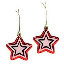 Star for hanging Red, white Plastic 8,5cm 2pcs