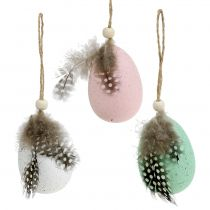 Plastic eggs with feather assorted 7cm 6pcs