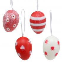 Plastic eggs for hanging red, white 6cm 12pcs