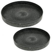 Plastic plates 2-set gray Ø22cm - 27cm
