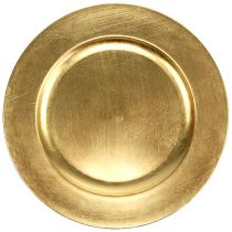 Plastic plate Ø33cm gold with gold leaf effect