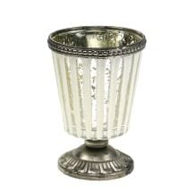 Tealight Glass Cup Farmer's Silver H11cm
