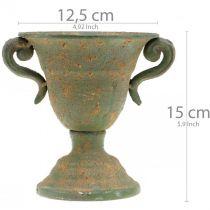 Metal amphora, plant cup, goblet with handles Ø12.5cm H15cm