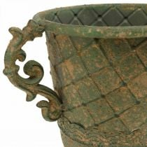 Cup for planting, chalice with handles, metal vessel antique look Ø15.5cm H23.5cm