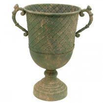 Metal goblet for planting, goblet with handles, planter Ø25cm H43cm