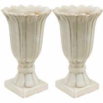 Decorative amphora, goblet for planting, goblet tulip planting jar Ø12cm H25.5cm 2pcs