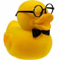 Decorative figure duck with glasses yellow, funny summer decoration, decorative duck flocked