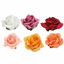 Foam-Rose Ø4,5cm different colors 36pcs