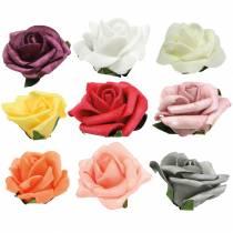 Foam-Rose Ø6cm different colors 27pcs