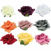 Foam-Rose Ø7,5cm different colors 18pcs