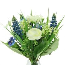 Ranunculus bouquet with grape hyacinths white 25cm